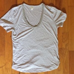 J. Crew oatmeal jewels neck tee